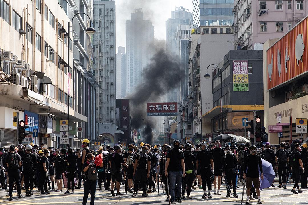 下午3點左右,荃灣的示威者。