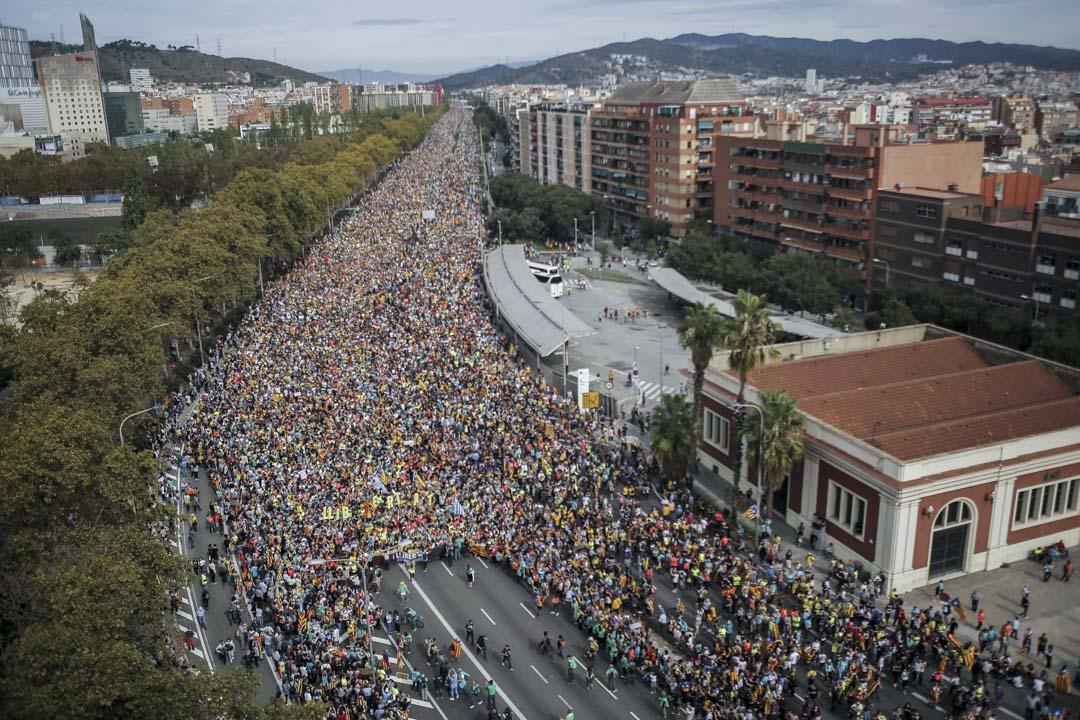 2019年10月18日,示威者從加泰隆里亞多個城鎮出發,長征至巴塞羅拿,聲援被囚獨派領袖。