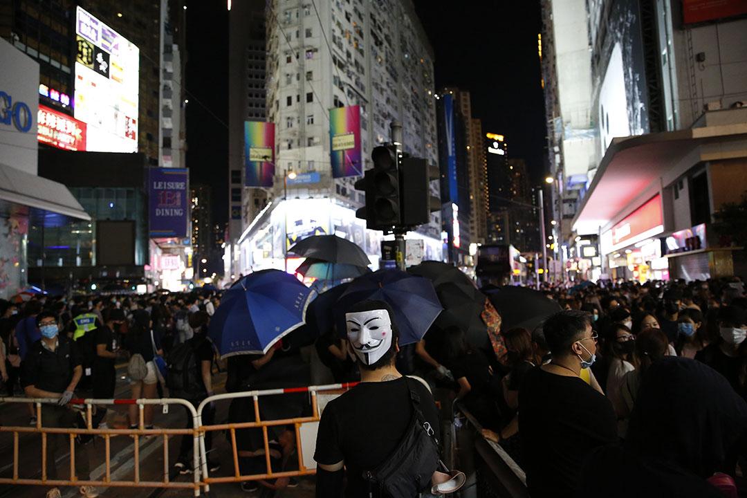 2019年10月4日,港島,示威者集結抗議港府通過緊急法。