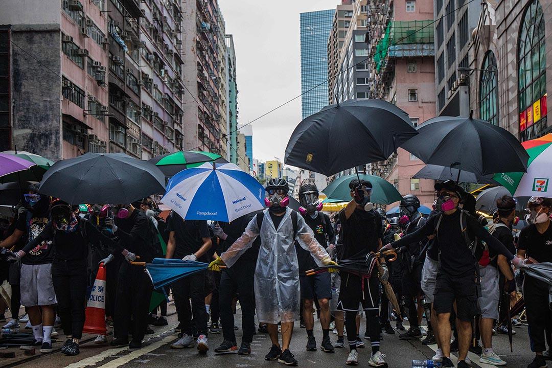 10月6日,傍晚6點左右,港島的示威者。