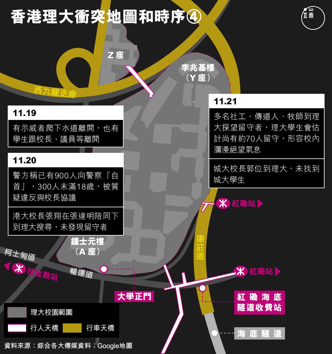 香港理大衝突地圖和時序(4)