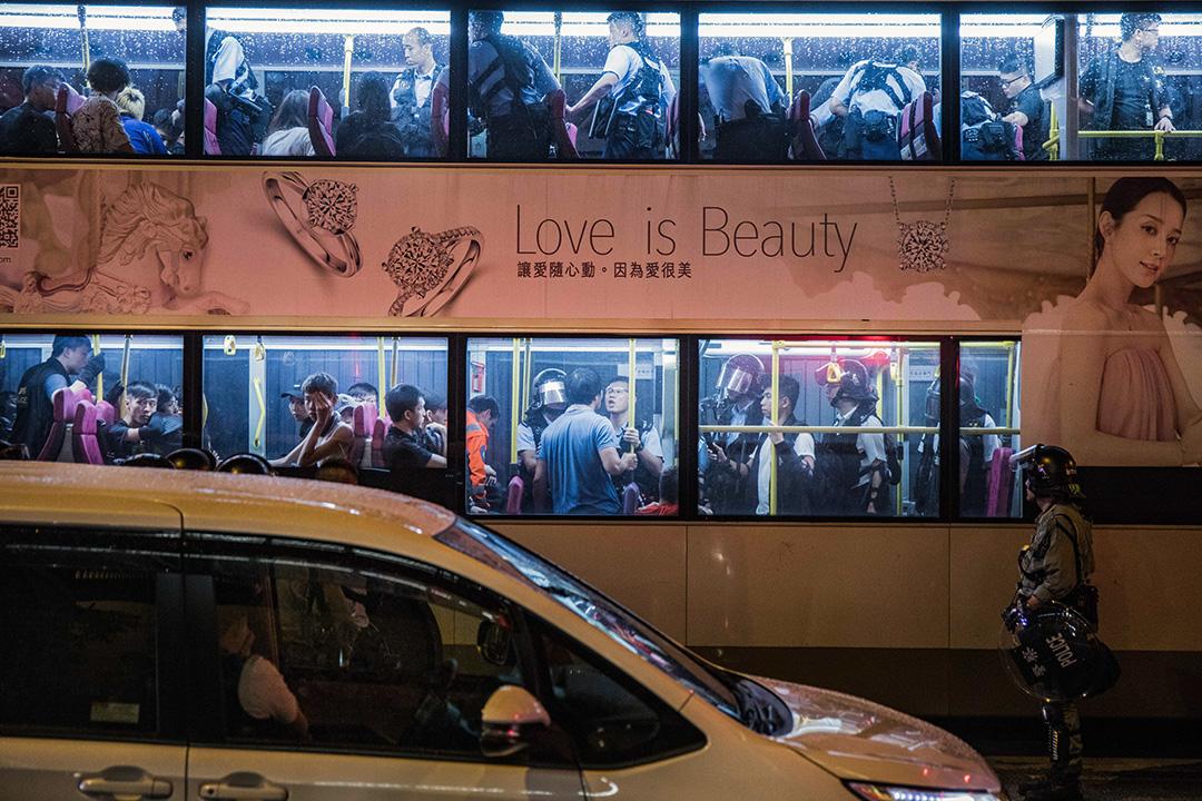 2019年9月4日,警方在九龍灣的巴士上拘捕多名示威者。