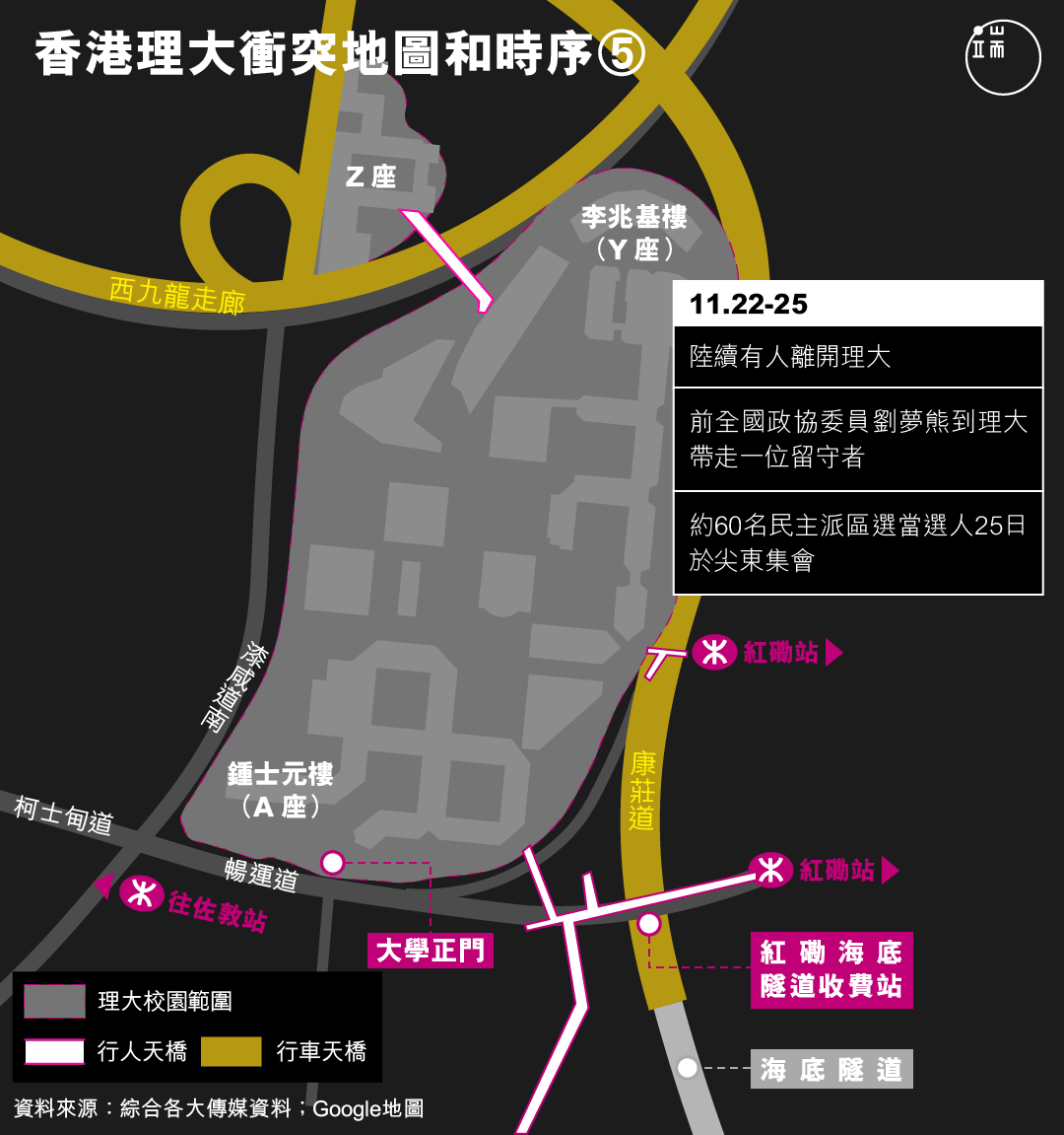 香港理大衝突地圖和時序(5)