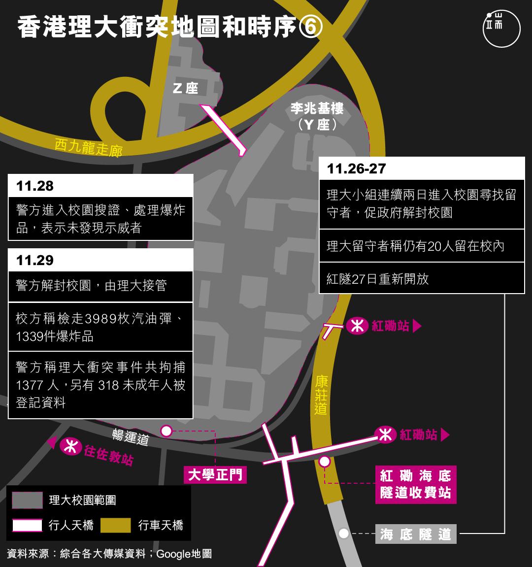 香港理大衝突地圖和時序(6)