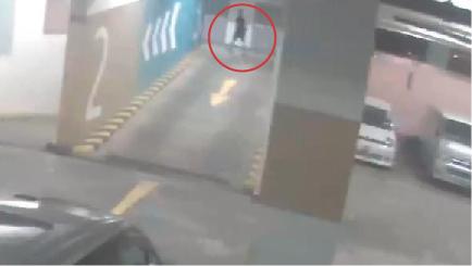 閉路電視出現黑衣短褲的男子,疑似周梓樂由二樓走上三樓的畫面。