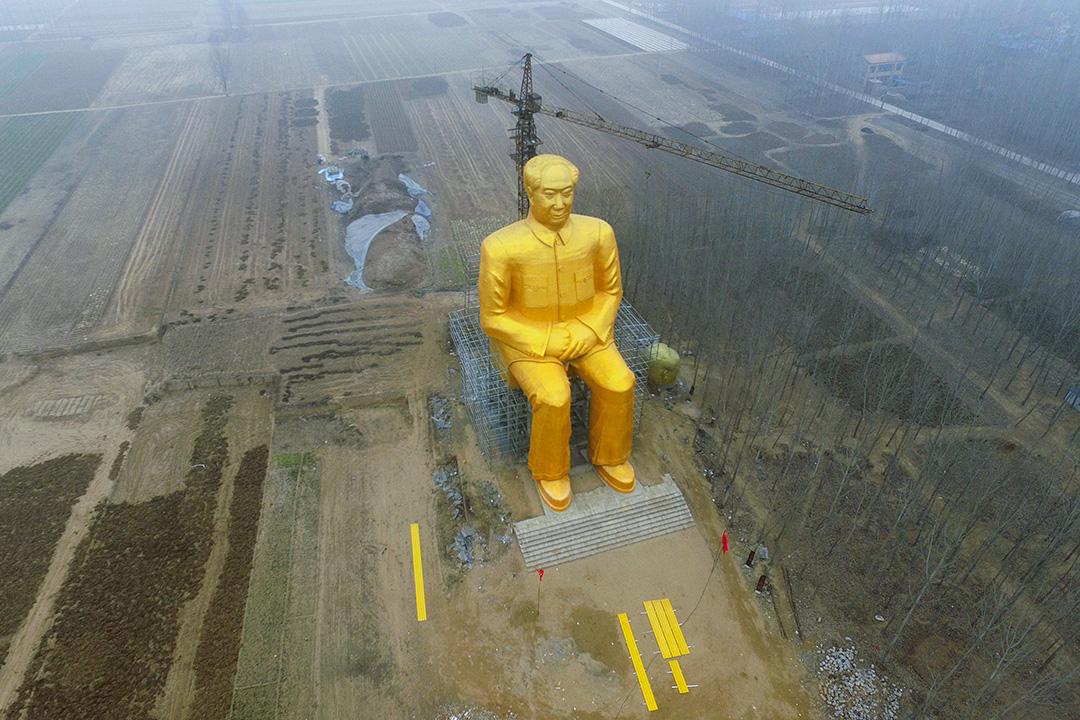 2016年1月4日中國朱石崗村,竪立一個巨大的毛澤東雕像。 圖:Visual China Group via Getty Images