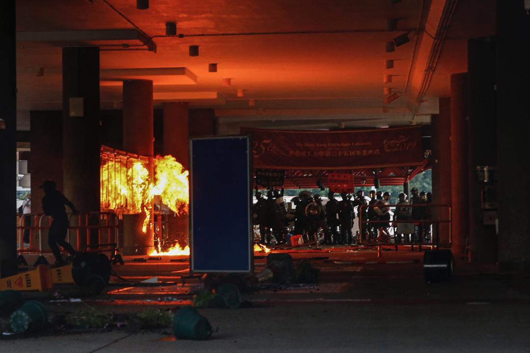 2019年11月11日,香港發起三罷行動,圖為理工大學現場。