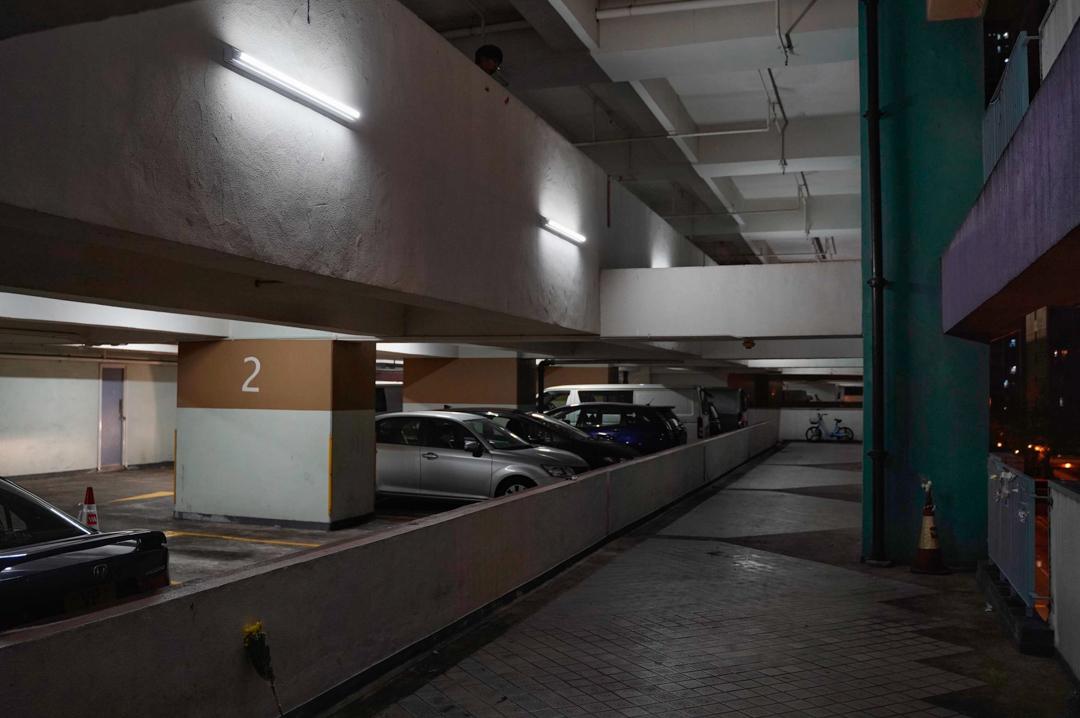 周梓樂在將軍澳尚德停車場內的墜樓現場。