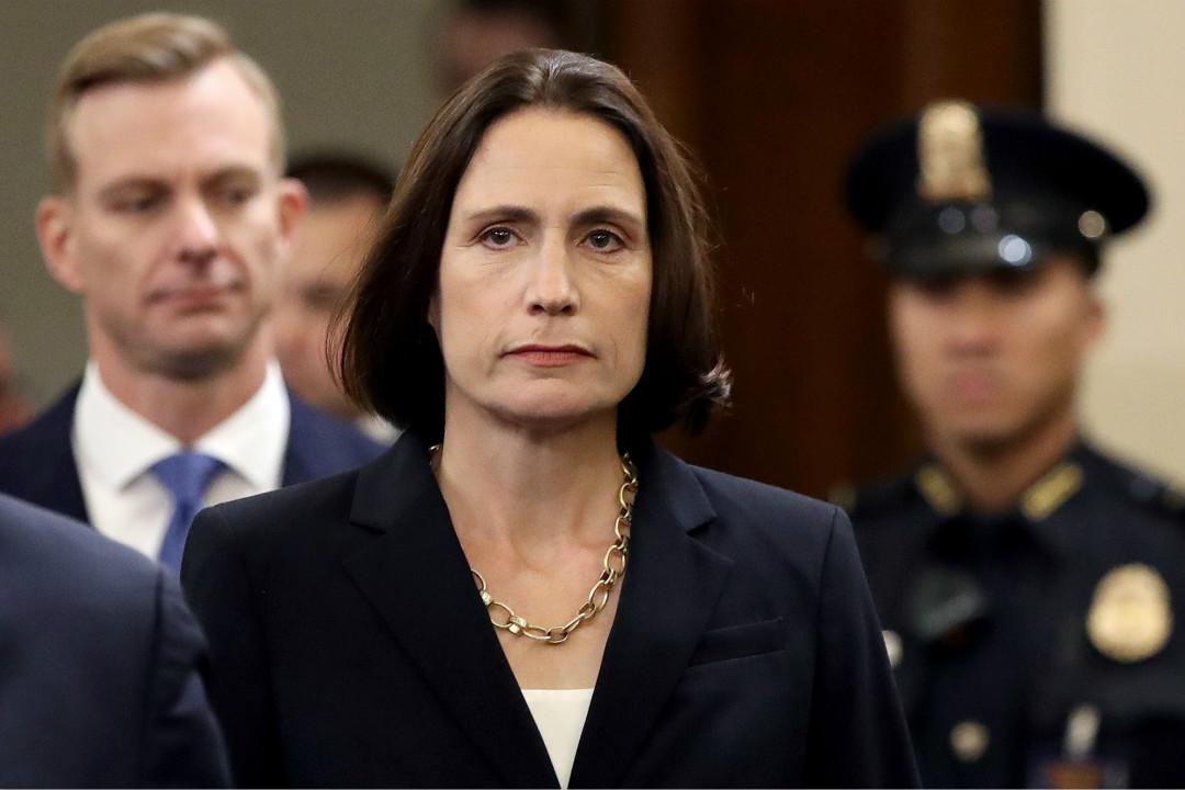 2019年11月21日,美國眾議院彈劾特朗普聽證會,白宮前俄羅斯顧問希爾(Fiona Hill)出席作證。 攝:Drew Angerer/Getty Images