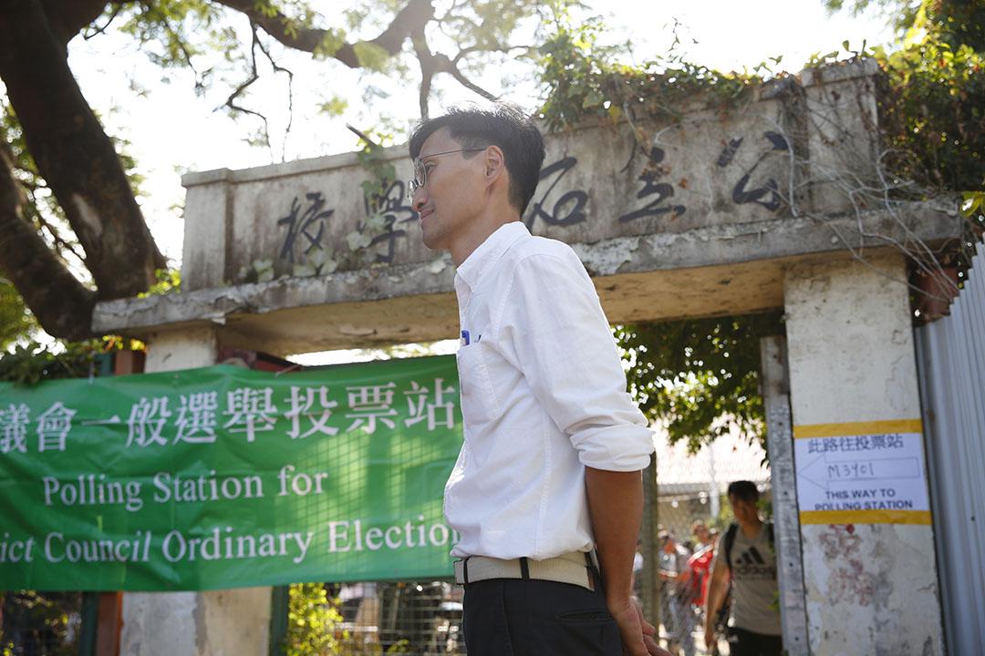2019年11月24日區議會投票日,參選元朗八鄉南選區的朱凱迪。同區候選人為黎永添、徐卓然。