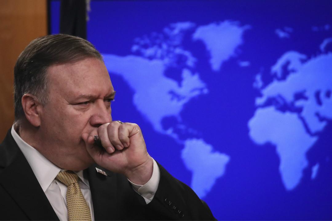 2019年11月18日,美國國務卿蓬佩奧(Mike Pompeo)出席國務院新聞發布會。 攝:Drew Angerer/Getty Images