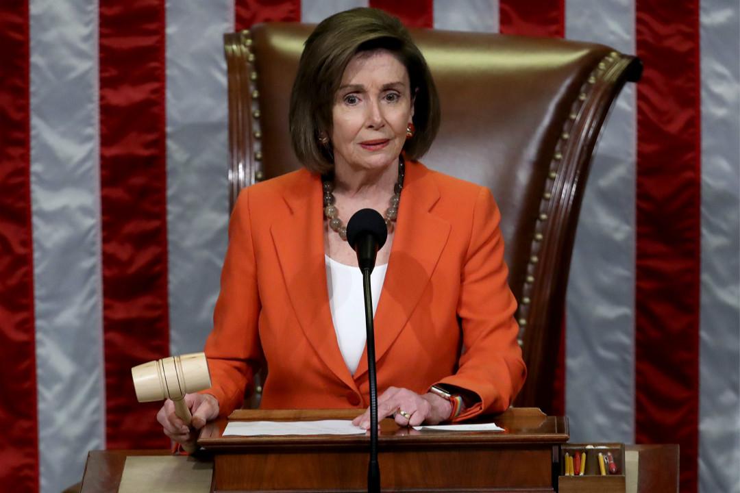 2019年10月31日,美國國會眾議長佩洛西(Nancy Pelosi)宣布通過一項對特朗普的彈劾調查程序的決議案。 攝:Win McNamee/Getty Images