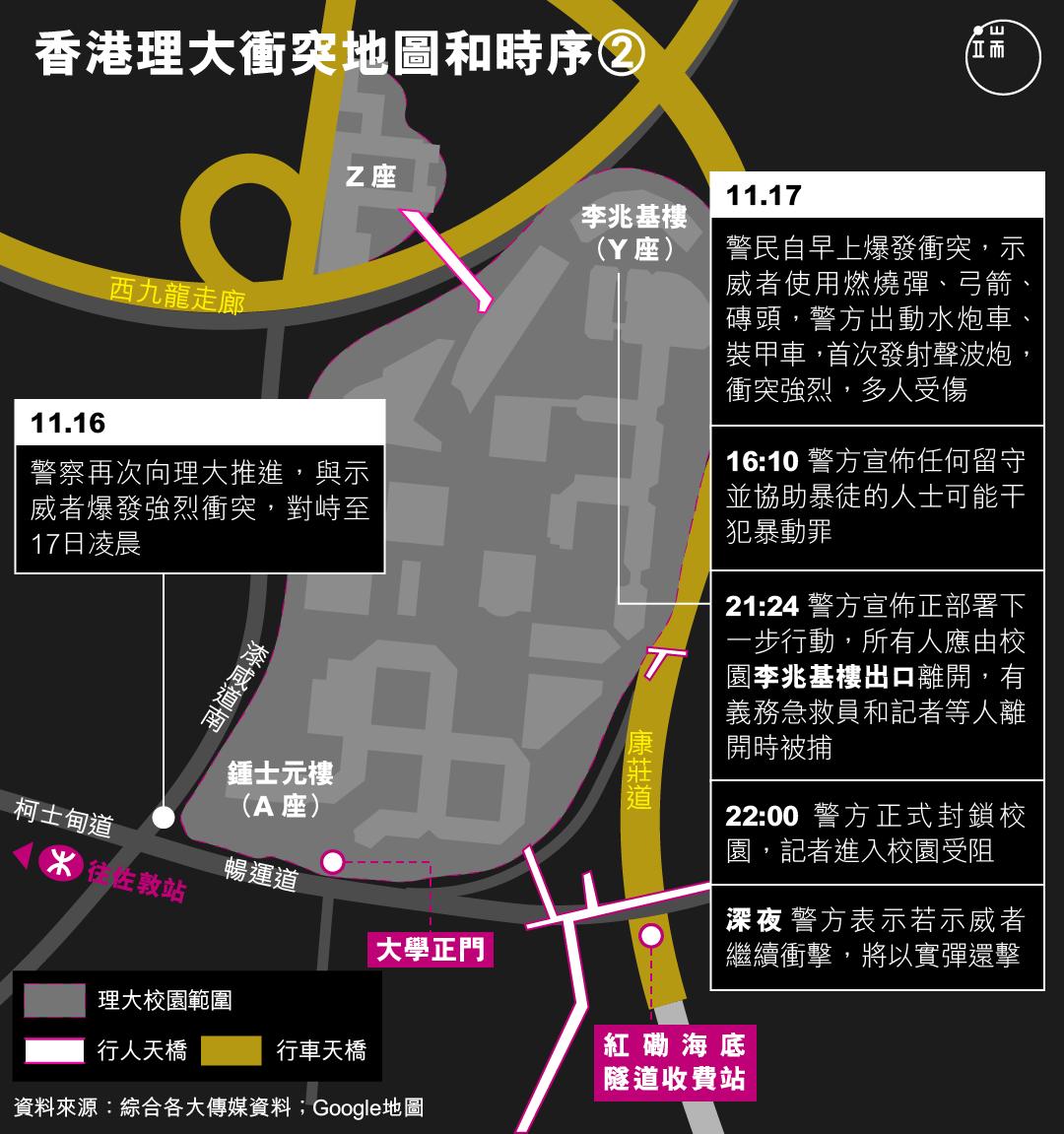 香港理大衝突地圖和時序(2)