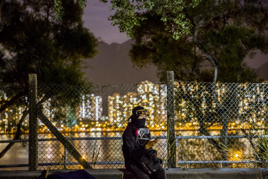 2019年11月12日,香港中文大學的留守人士。