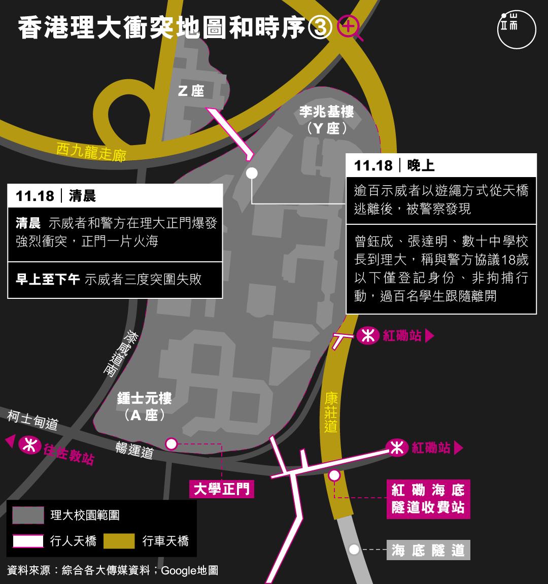 香港理大衝突地圖和時序(3-b)