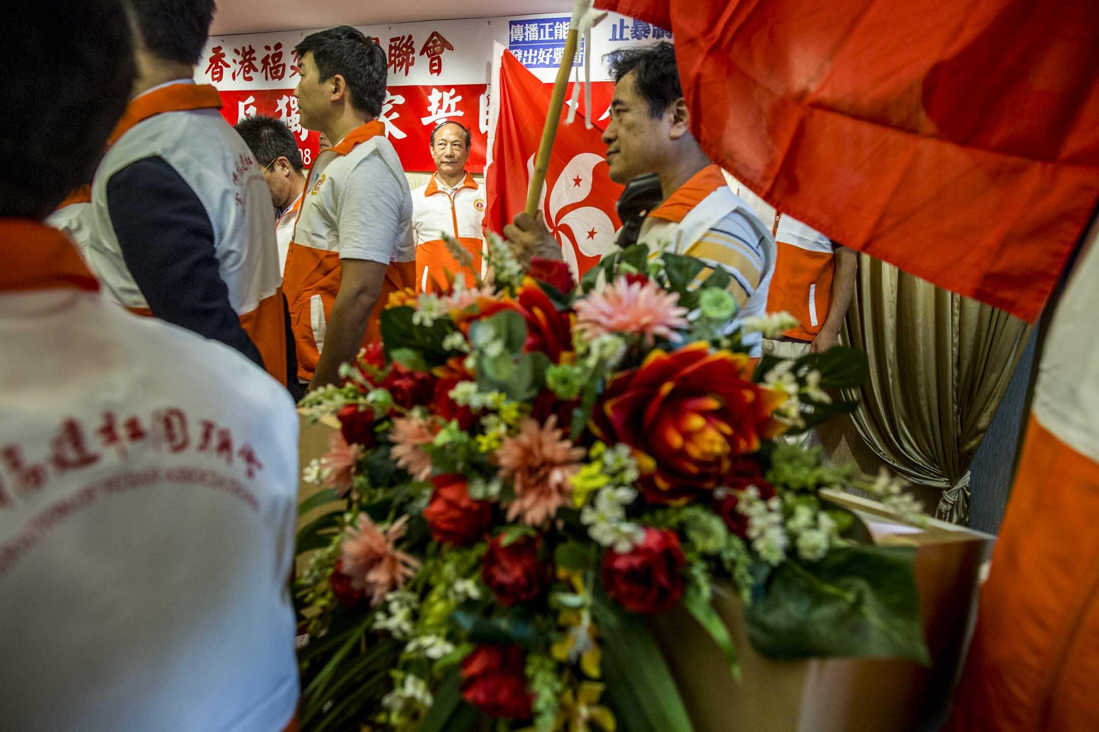 2019年8月10日,「香港福建社團聯會」發起「止暴制亂、反獨保家」誓師大會,號召將「止暴制亂」化成具體行動,又強調「人若犯我,我必自衛」。 攝:林振東/端傳媒