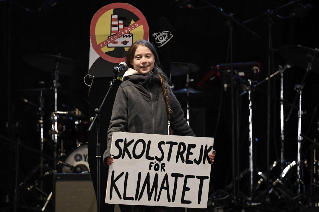 2019年12月6日,在馬德里舉行的COP25峰會上,瑞典中學生格蕾塔(Greta Thunberg)發表講話。 攝:Pierre-Philippe Marcou/AFP via Getty Images