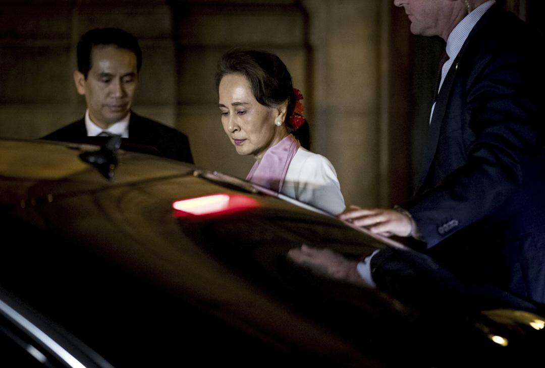 昂山素姬在國際法院為緬甸軍方被控種族滅絕罪行辯護。 攝:Koan Van Weel/ANP/AFP via Getty Images