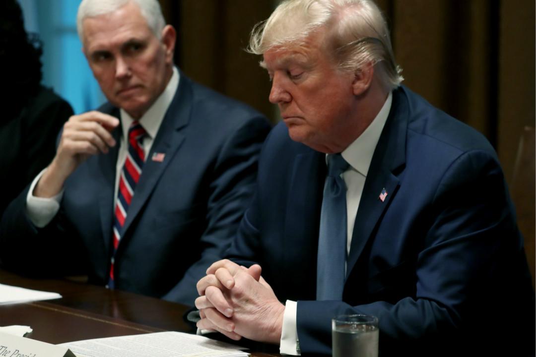 2019年12月9日,美國總統特朗普在白宮會議上對監察長調查報告表示不滿。 攝:Mark Wilson/Getty Images
