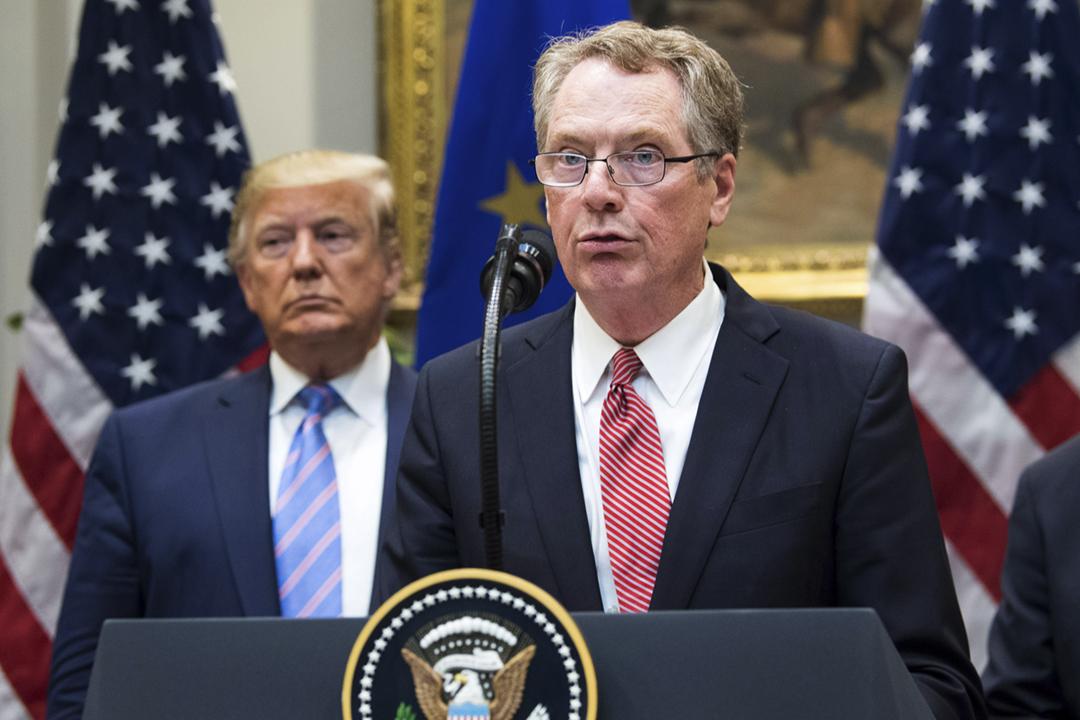 2019年8月2日,美國貿易代表萊特希澤(Robert Lighthizer)在白宮公布貿易出口措施。 攝:Kevin Dietsch / Pool via Bloomberg