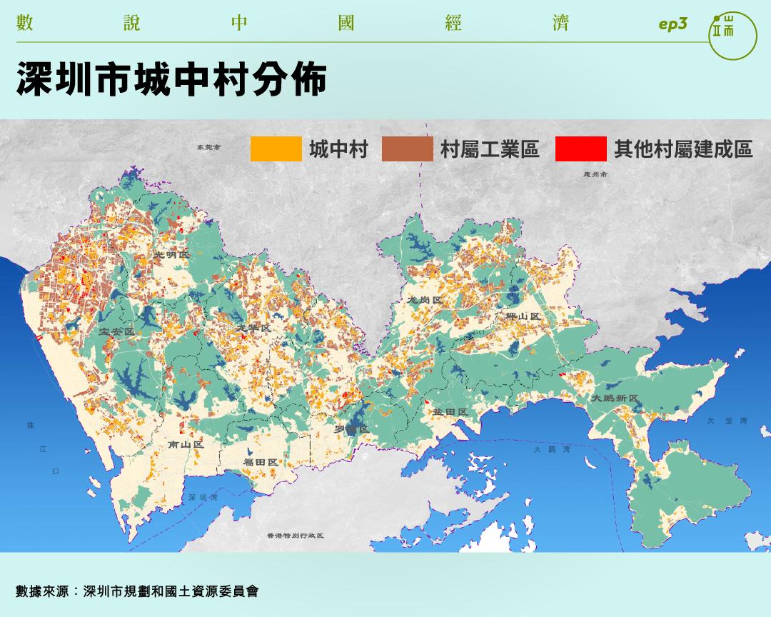 深圳市城中村分佈。