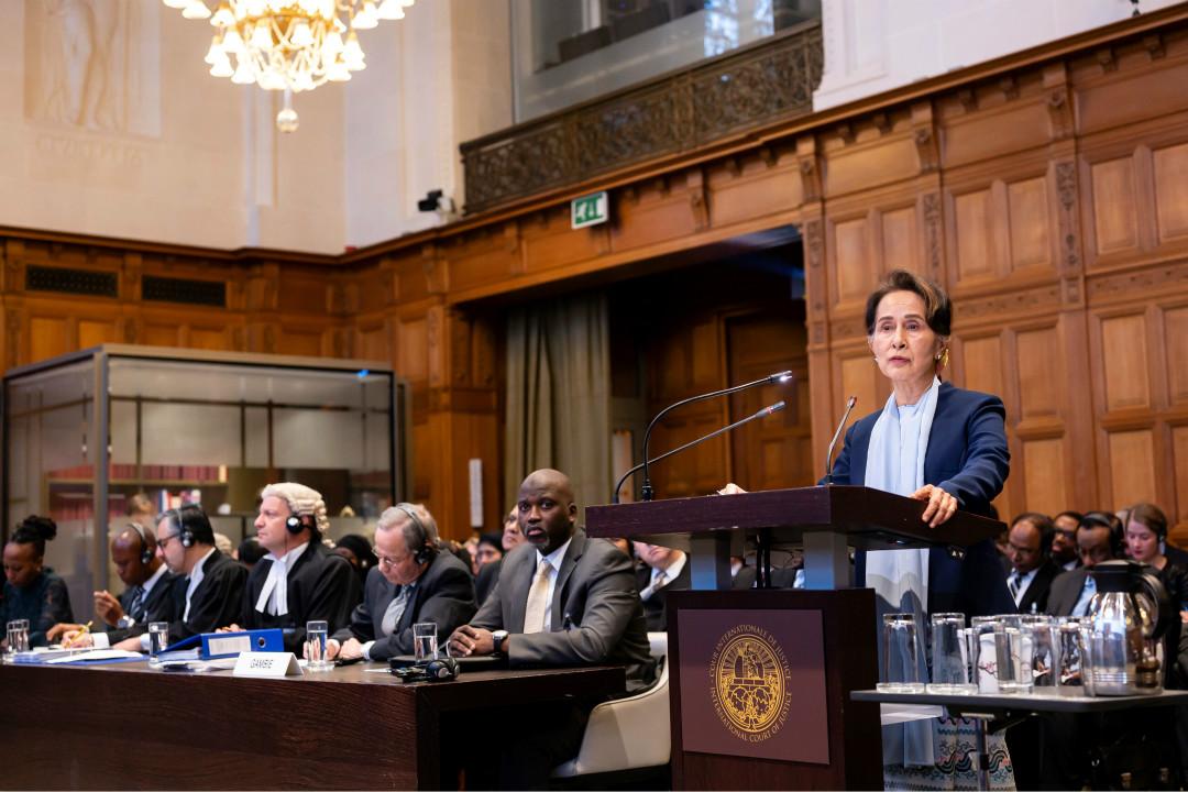2019年12月11日,緬甸國務資政昂山素姬在海牙國際法庭發言,為緬甸軍方被控種族滅絕罪辯護。 攝:Getty Images
