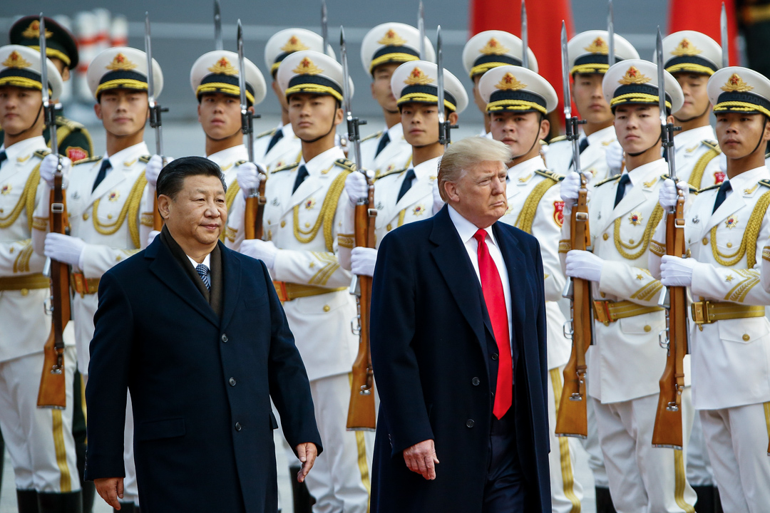 2017年11月9日,美國總統特朗普到訪北京與習近平會面。 攝:Thomas Peter/Pool via Getty Images