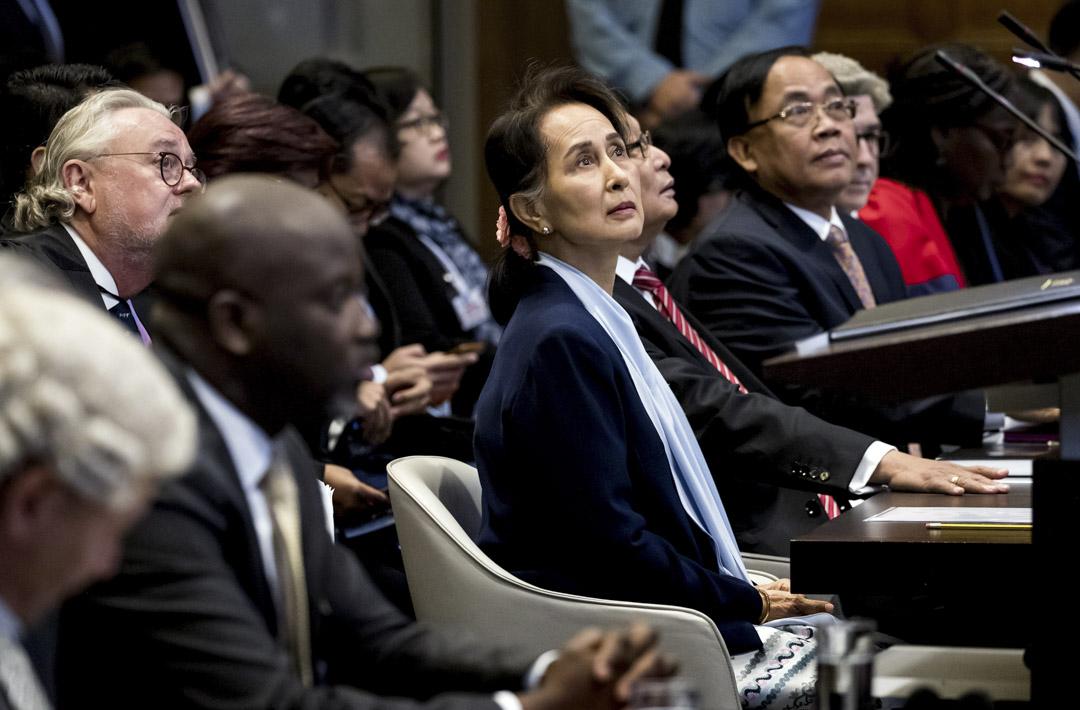 2019年12月11日,緬甸國務資政昂山素姬在荷蘭海牙的國際法院,就對於羅興亞事件舉行的聽證會發言。