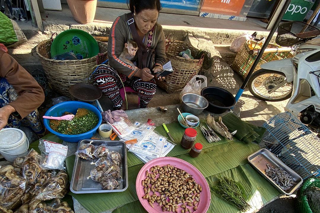 一位擺地攤賣野生動植物的阿卡族女人。