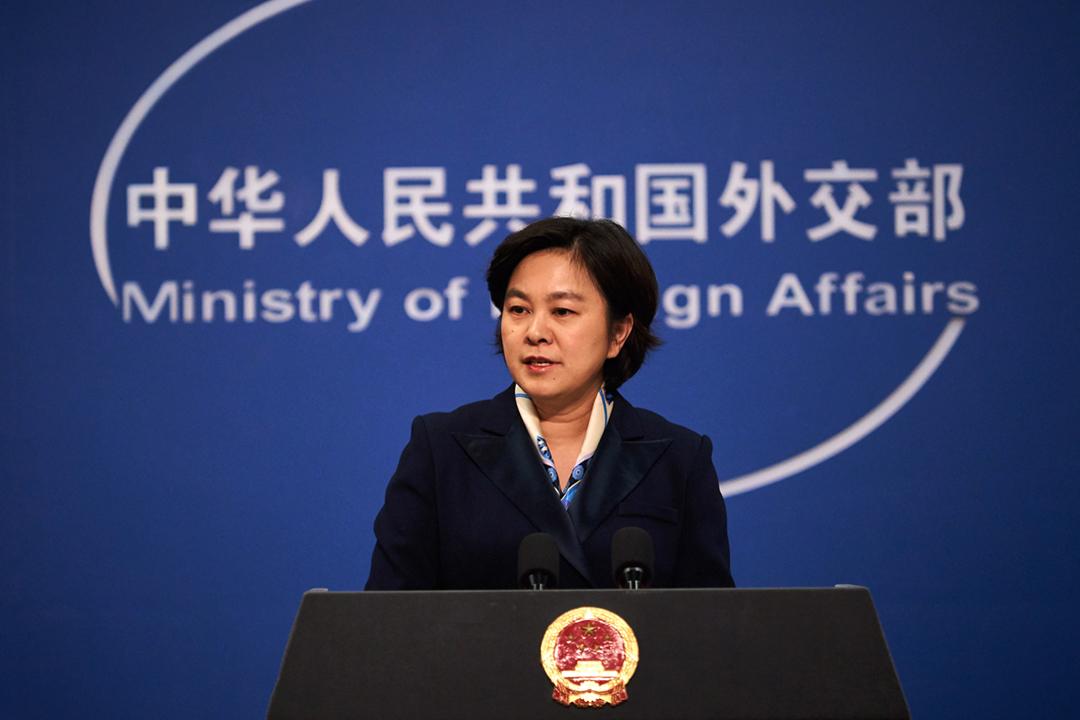 2019年12月2日,中國外交部因應美國總統特朗普早前簽署《香港人權與民主法案》,而宣布反制措施。圖為中國外交部發言人華春瑩。 攝:Artyom Ivanov / TASS via Getty Images