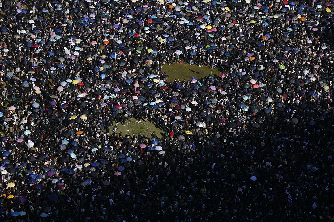 2019年12月8日,民陣發起國際人權日遊行,下午三點左右在維多利亞公園等待起步的人群。