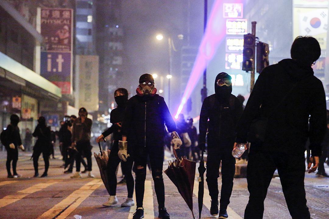 2019年12月25日,示威者在旺角。