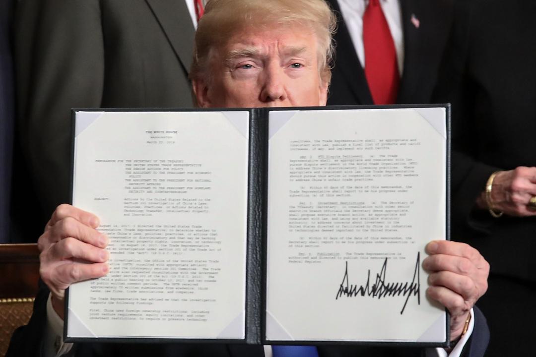 2018年3月22日,美國總統特朗普簽署「中國經濟侵略」備忘錄,宣佈對一系列中國貨物徵收進口稅。