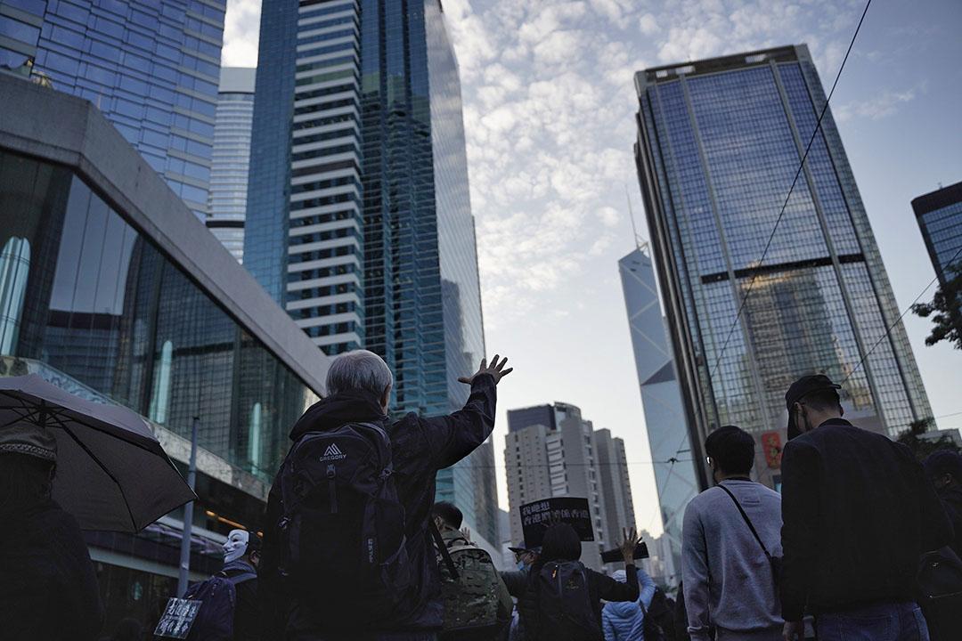 2019年12月8日,民陣發起國際人權日遊行,遊行人士張開五指要求政府回應五大訴求。