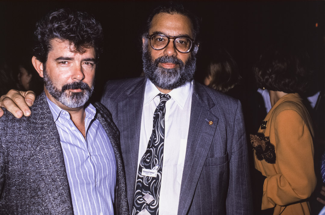 George Lucas 與Francis Ford Coppola ,攝於1988年。