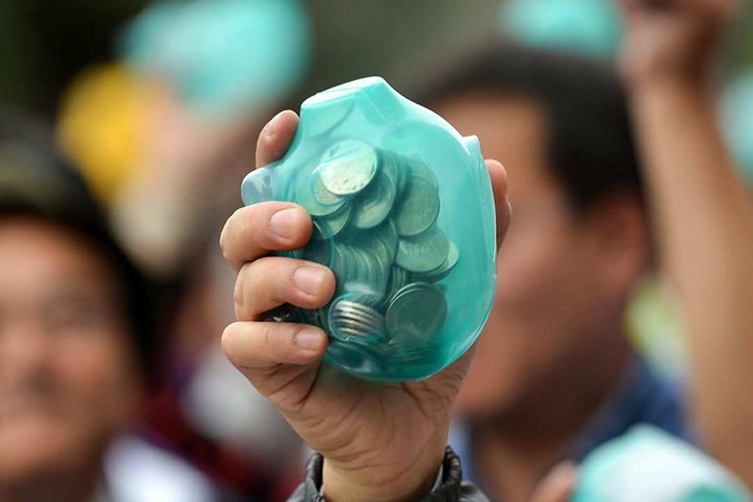 2016年12月20日,台北舉行的一次民進黨籌款活動中的小豬撲滿。