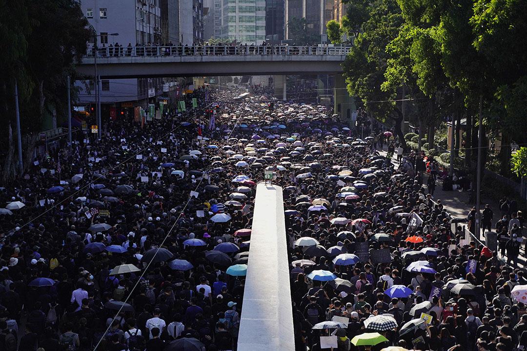 2019年12月8日,民陣發起國際人權日遊行,下午三點左右的遊行人群。