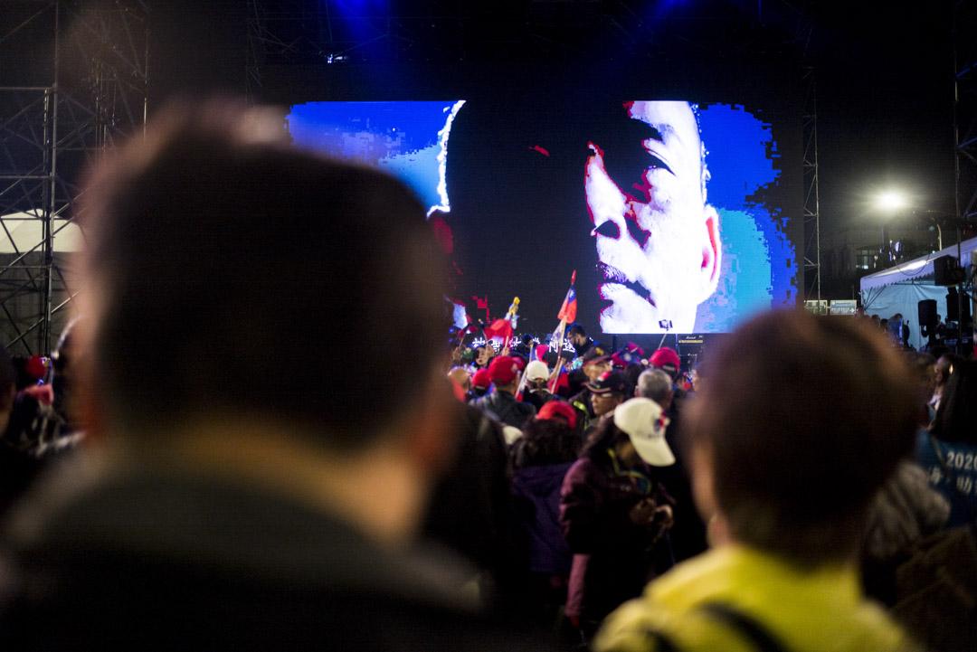 2020年1月9日,韓國瑜在凱道舉辦造勢晚會,韓國瑜肖像在台上。