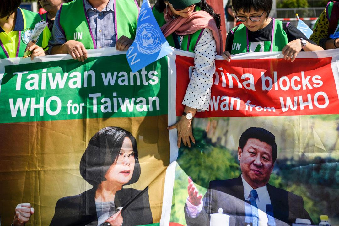 2017年5月22日,一群來自台灣的示威者在日內瓦世界衛生大會場外示威,抗議世界衛生組織將台灣排除在會議外。 攝:Fabrice Corffrini/AFP via Getty Images