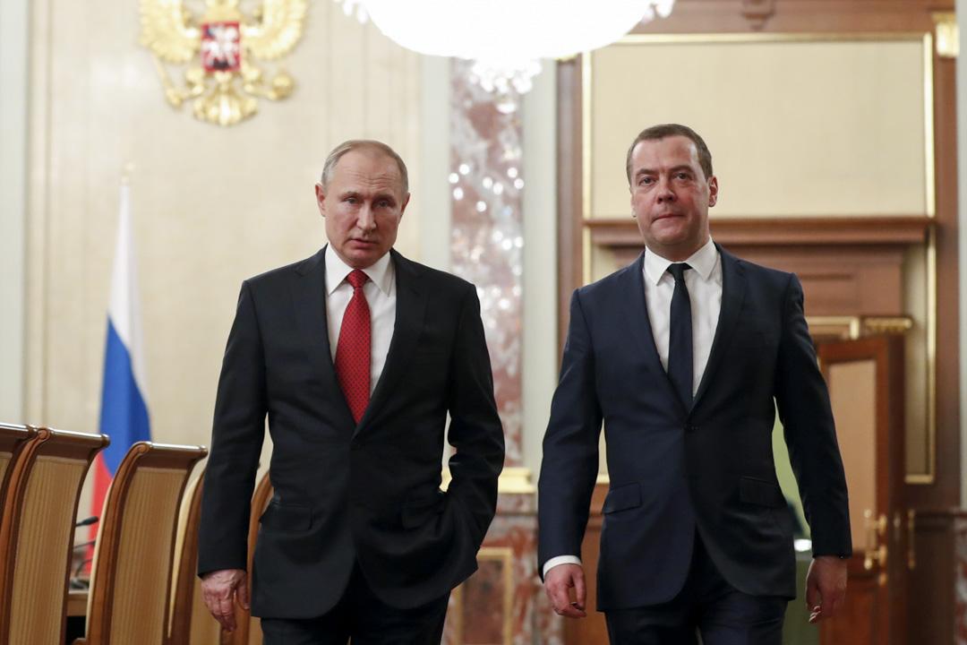 2020年1月15日,俄羅斯總理梅德韋傑夫在總統普京宣布修憲後率領全體內閣總辭。