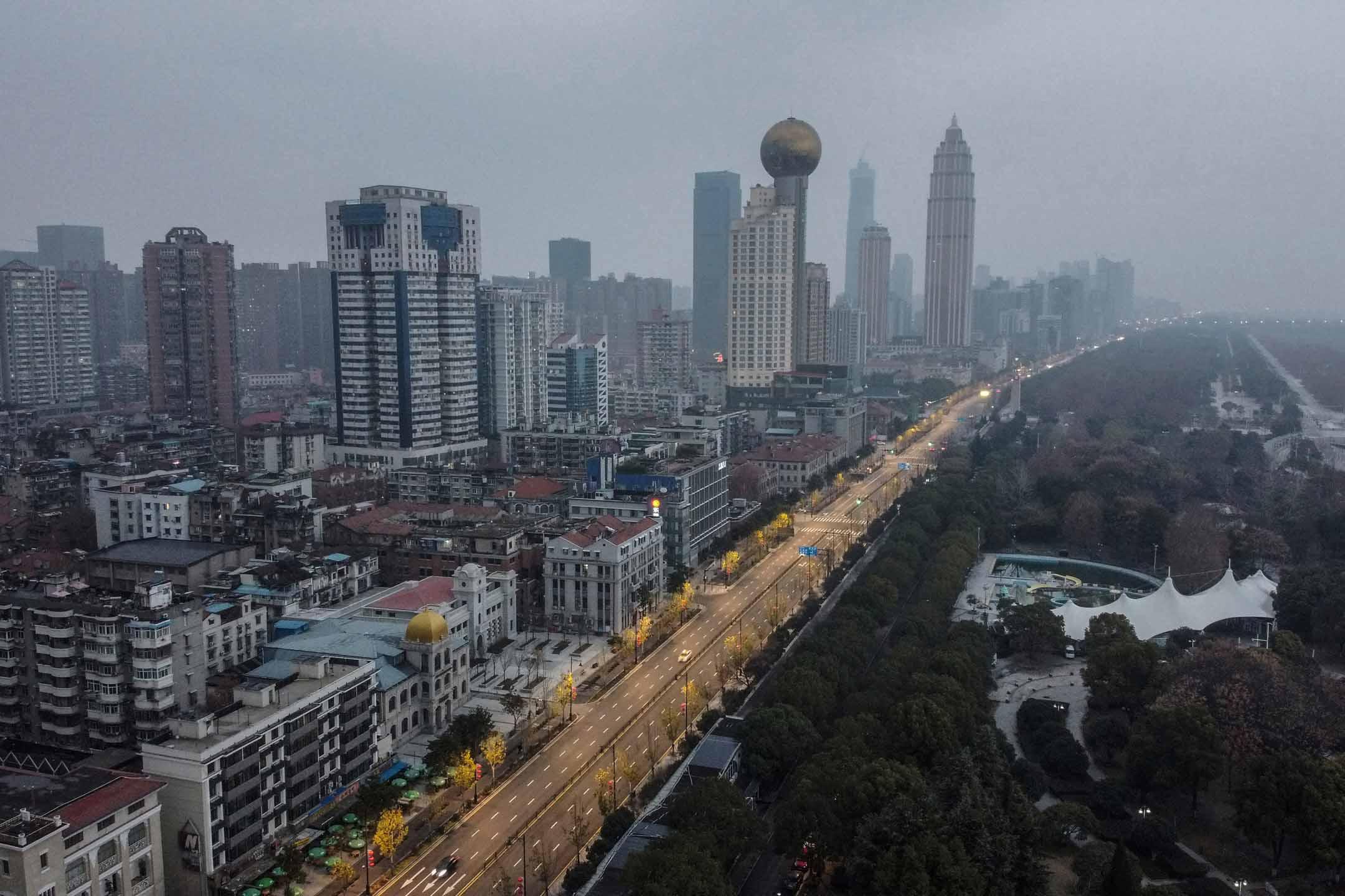 2020年1月27日,封城後的武漢市內環境。
