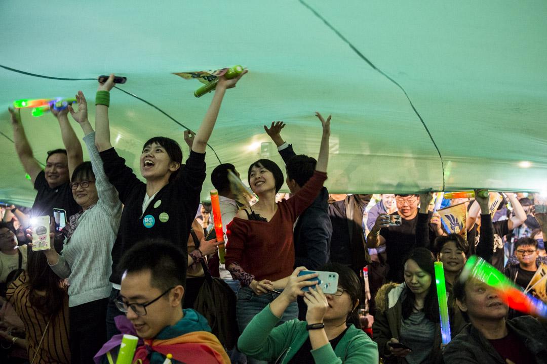 2020年1月10日,團結台灣 民主勝利」選前之夜造勢晚會在凱達格蘭大道舉行。 攝:林振東/端傳媒