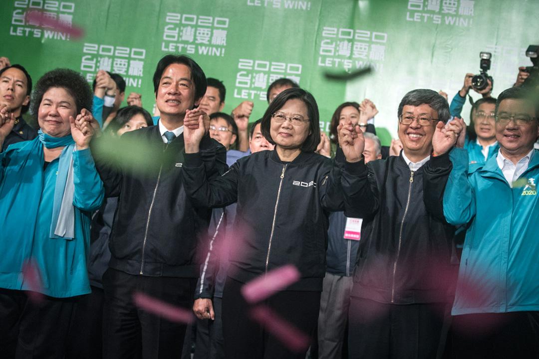 2020年1月11日台北民進黨開票晚會,蔡英文高票勝選並於台上感謝選民。