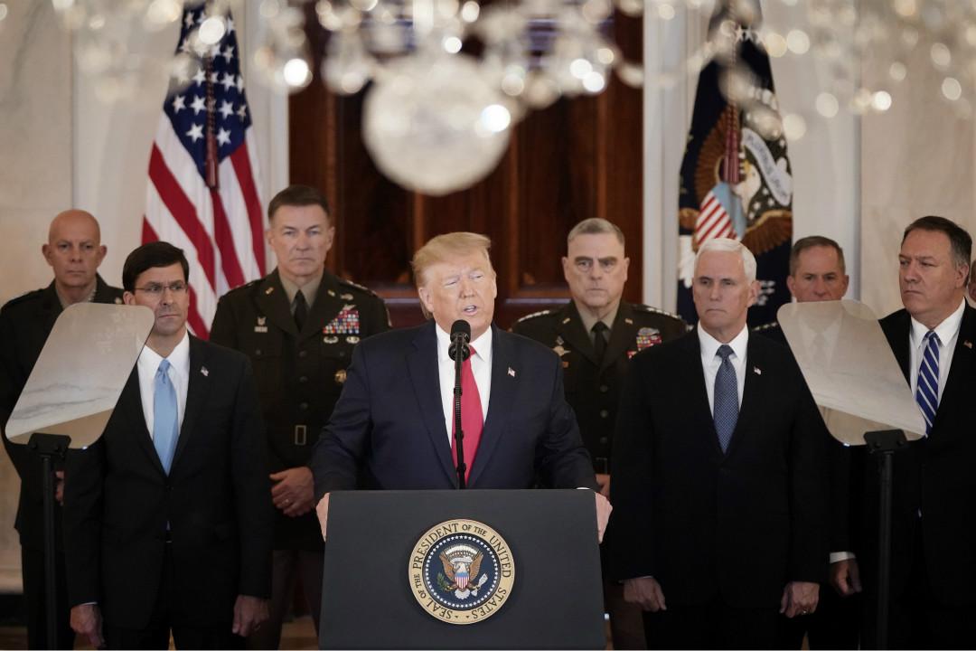 2020年1月8日,美國總統特朗普在白宮發表講話,稱伊朗襲擊未造成美軍傷亡。 攝:Win McNamee/Getty Images
