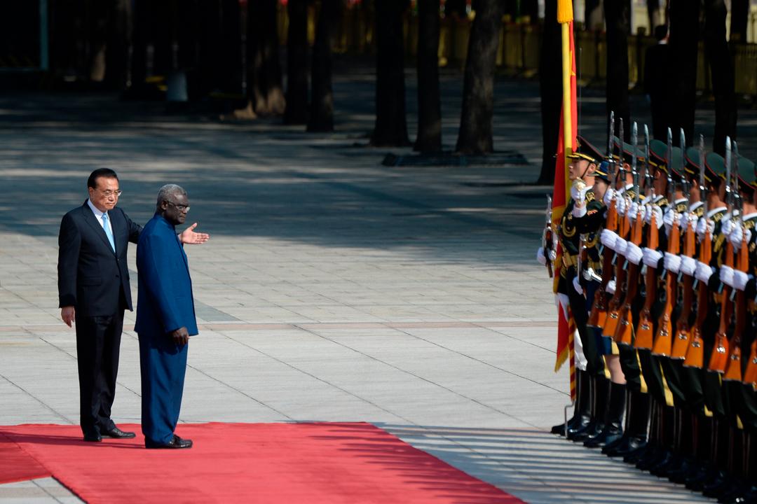 2019年10月9日,所羅門群島與台灣斷交後,所國首相梅納西·索加瓦雷到北京與中國國務院總理李克強會面。