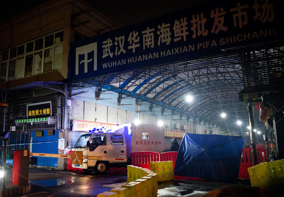 懷疑傳出肺炎病毒的武漢華南海鮮市場。