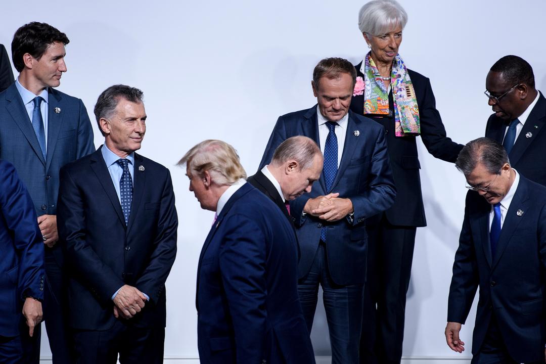 2019年G20峰會,特朗普與普京一同於大阪出席會議。
