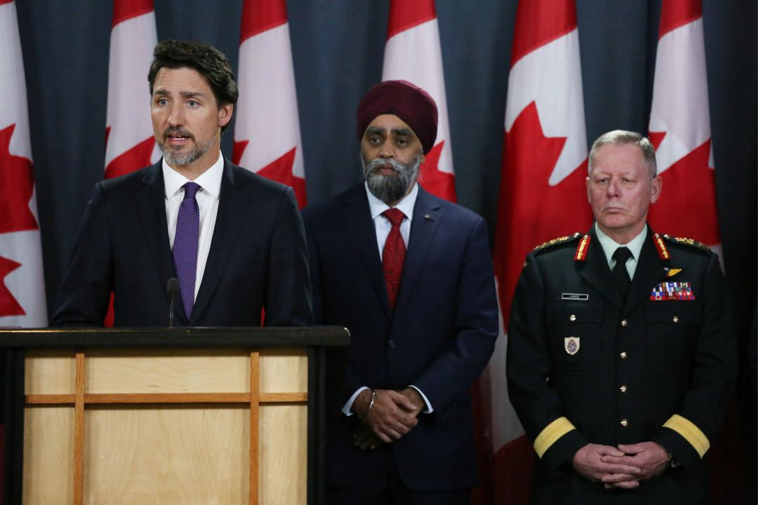 2020年1月9日,加拿大總理杜魯多召開記者會,稱有證據顯示德黑蘭墜機是被伊朗導彈擊落。 攝:Dave Chan/Getty Images