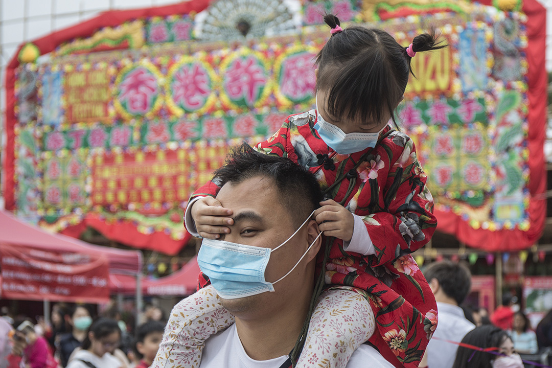 2020年1月25日,大埔林村 , 一對父女在林村許願樹許願。