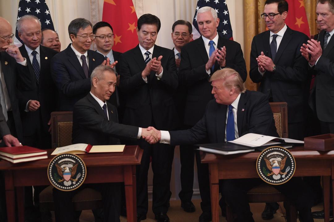 2020年1月15日,中美兩國簽署「第一階段」經貿協議。 攝: Saul Loeb/AFP via Getty Images